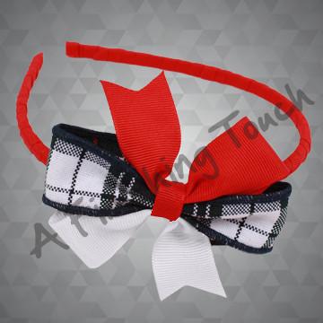111- Plaid Mix Basic Bow on Tiny Headband
