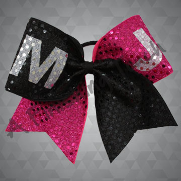 160- Large Two-Tone Cheer Bow with Short Tails / Customized Letters