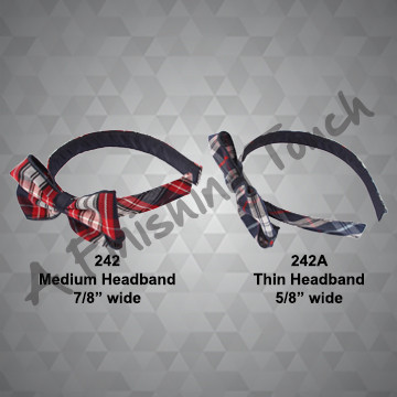 242- Flat Plaid Headband w/Bow
