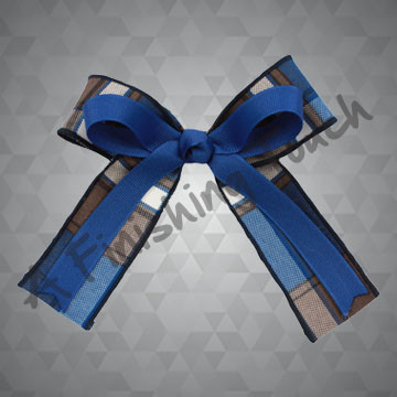 419- Two-Layer Plaid Bow w/Tails