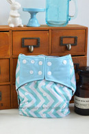 Bamboo Charcoal Cloth Diaper - Chevron Blue