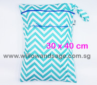 Wet Bag 30x 40cm  - Chevron Blue