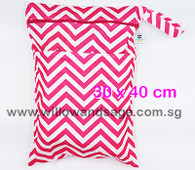 Wet Bag 30x 40cm  - Chevron Pink
