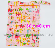 Wet Bag 30x 40cm  - Animal Wonderland Pink