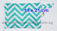 Wet Bag 14 x 21cm - Chevron Blue