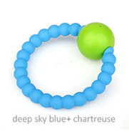 Teether - Rattle Teether Deep Sky Blue  + Charteuse