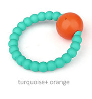 Teether - Rattle Teether Turquoise + Orange