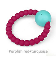 Teether - Rattle Teether Purplish Red + Turquoise