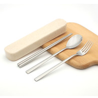 Travel Cutlery Set Fork - 1 pc Spoon - 1 pc Chopsticks - 1 pair Wheat Straw Container Storage Box - 1 pc