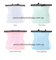 Sillicone Reusable Food Bag Clear Cyan