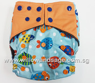 Bamboo Charcoal Cloth Diaper - Fishy Business