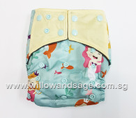 Bamboo Charcoal Cloth Diaper - Playful Mermaid