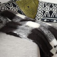 Black & White check throw blanket in Alpaca