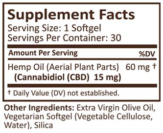 PLUS CBD Oil Gold Softgels 15 mg 30 SG