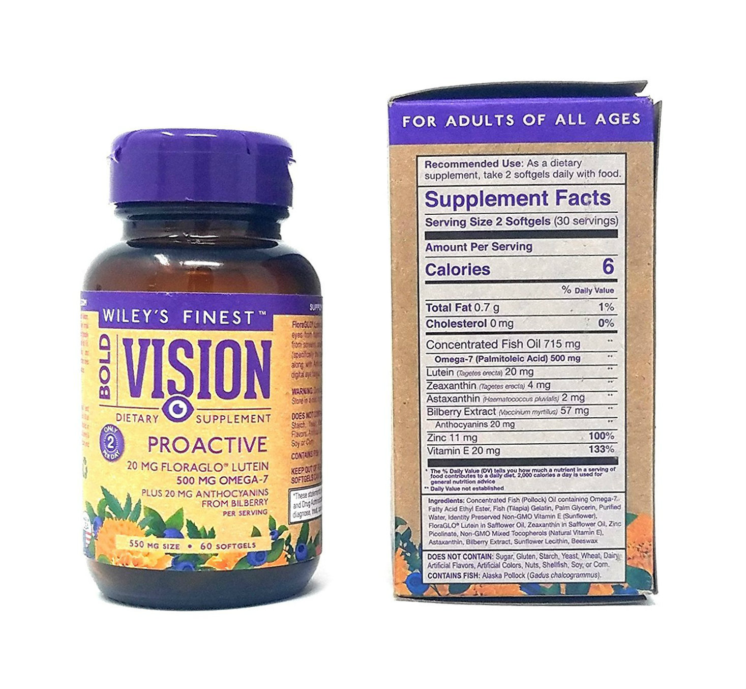 Wiley's Finest Bold Vision Proactive 550 mg 60 SG