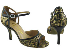 Online Wide Shoes - Gold and Black Fireworks