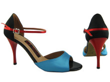 Online Wide Shoes - Black, Red and Blue Satin Love