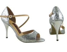 Online Wide Shoes - Glittering Silver Dust