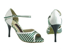Online Wide Shoes - Stripes of Forest and Innocence (satin)