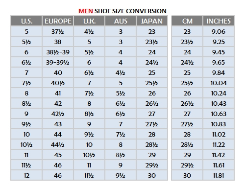 Shoe Size Conversion Australian To American Mens