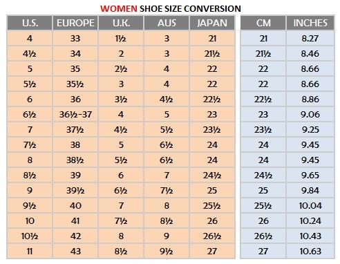 Women shoe sizes