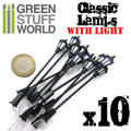 GREEN STUFF WORLD 9270 - 10x Classic Lamps with LED Lights