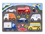 Transportation Vehicles Wooden Peg Puzzle