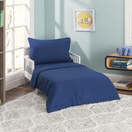 Everyday Kids 4 Piece Toddler Bedding Set - Solid Navy