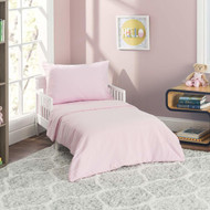 Everyday Kids 4 Piece Toddler Bedding Set - Solid Pink