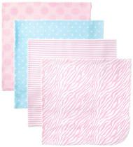 Gerber Baby Girl 4-Pack Flannel Receiving Blanket - Polka Dots