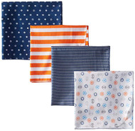 Gerber Baby Boy 4-Pack Flannel Receiving Blanket - Sports
