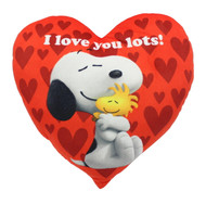 "Peanuts Valentine's Snoopy And Woodstock 14"" I Love You Lots Red Heart Pillow"