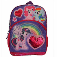 """My Little Pony 16"""" Backpack - Sequins Heart"""