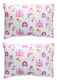 EVERYDAY KIDS 2-Pack Toddler Travel Pillowcases - Princess Storyland