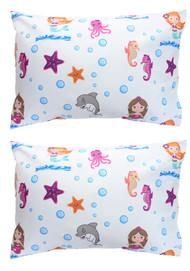 EVERYDAY KIDS 2-Pack Toddler Travel Pillowcases - Undersea Mermaid Adventure