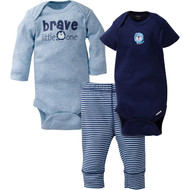 "Gerber 3-Piece ""Brave Little One"" Onesies & Pant Set (0-3 months)"