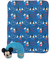Mickey Mouse Neck Pillow & Travel Blanket Set