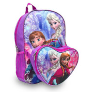 Frozen Anna and Elsa Large Backpack with Lunch Bag