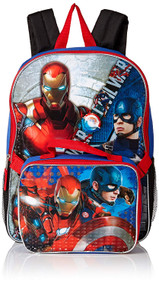 Marvel Captain America Vs. Ironman Backpack with Lunch Bag