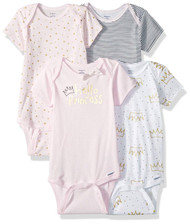 Gerber Baby Girls' 4-Pack Hello Princess Onesies - 12 months