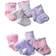 Gerber Baby Girls' 8-Pair Sock Pastel Princess - 6-12 Months
