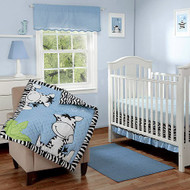 I Luv Zebras Blue  3 Pc Bedding Set