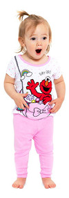 Sesame Street Girls' 4-Piece Cotton Pajama Set