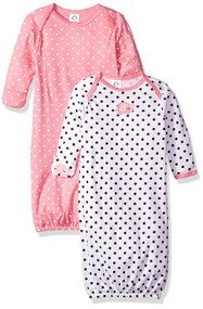GERBER 2-Pack Gowns - Elephant Hearts (0-6 Months)