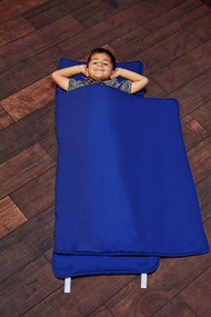 EVERYDAY KIDS Toddler Nap Mat with Removable Pillow - Navy