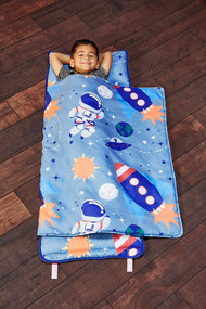 EVERYDAY KIDS Toddler Nap Mat w/Removable Pillow -Outer Space Adventures