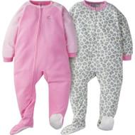 Gerber Girl 2-Pack 'Pink Leopard' Blanket Sleepers - 2T