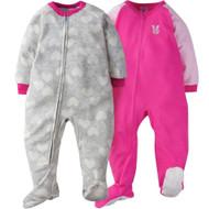 Gerber Toddler Girl 2-Pack 'Pink Bunny' Blanket Sleeper - 3T