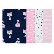 GERBER Baby Girl 4-Pack 'Pink Fox' Receiving Blanket
