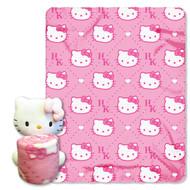 """Hello Kitty, Pink HK's"" Fleece Throw with Hugger"